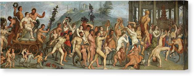 The Triumph Of Bacchus Canvas Print featuring the painting The Triumph Of Bacchus by After Giulio Romano