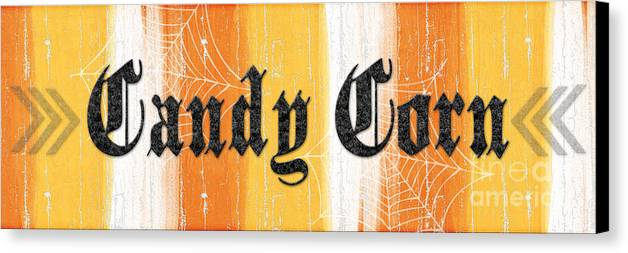 Candy Canvas Print featuring the painting Candy Corn Sign by Linda Woods