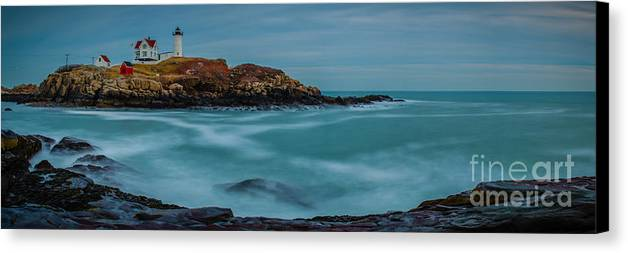 Cape Neddick Lighthouse Canvas Print featuring the photograph Cape Neddick Lighthouse by Abe Pacana
