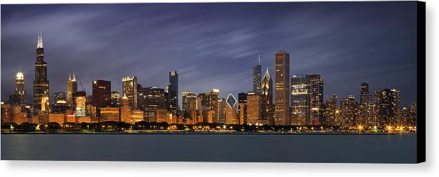 3scape Photos Canvas Print featuring the photograph Chicago Skyline At Night Color Panoramic by Adam Romanowicz
