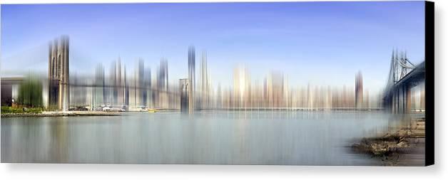 Distance Canvas Print featuring the photograph City-art Manhattan Skyline I by Melanie Viola