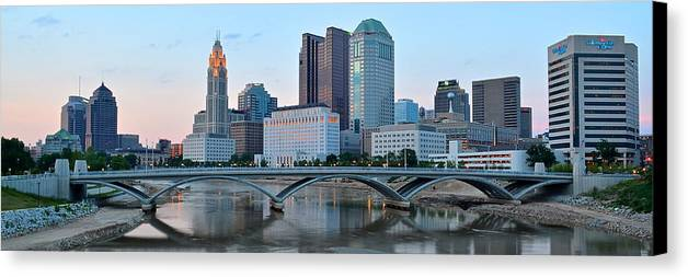 Columbus Canvas Print featuring the photograph Columbus Panorama by Frozen in Time Fine Art Photography