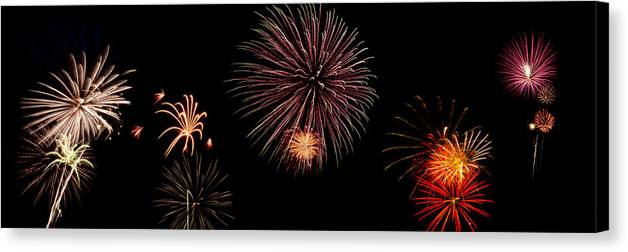 Fireworks Canvas Print featuring the photograph Fireworks Panorama by Bill Cannon