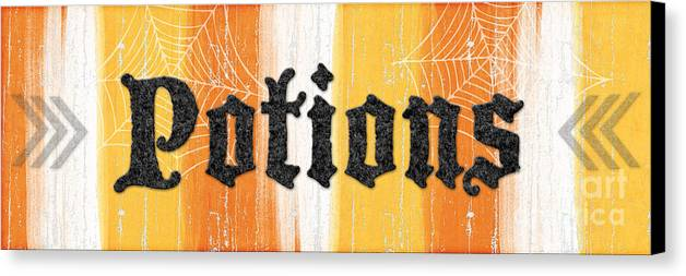 Potions Canvas Print featuring the painting Halloween Potions Sign by Linda Woods