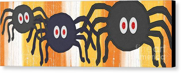 Spiders Canvas Print featuring the painting Halloween Spiders Sign by Linda Woods