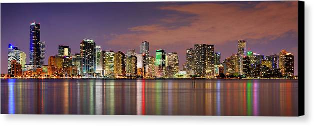 Miami Canvas Print featuring the photograph Miami Skyline At Dusk Sunset Panorama by Jon Holiday