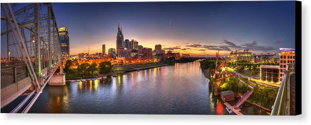 Pano Canvas Print featuring the photograph Nashville Skyline Panorama by Brett Engle