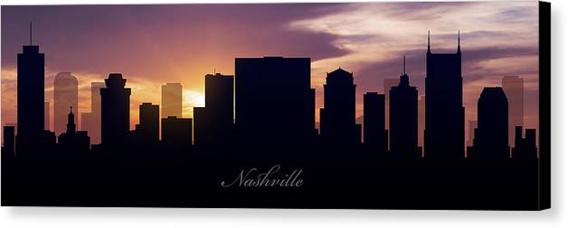 Nashville Canvas Print featuring the photograph Nashville Sunset by Aged Pixel