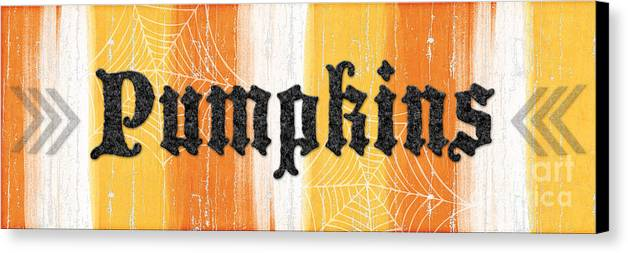 Pumpkins Canvas Print featuring the painting Pumpkins Sign by Linda Woods