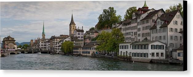 Color Image Canvas Print featuring the photograph A Panorama View Of Zurich by Greg Dale