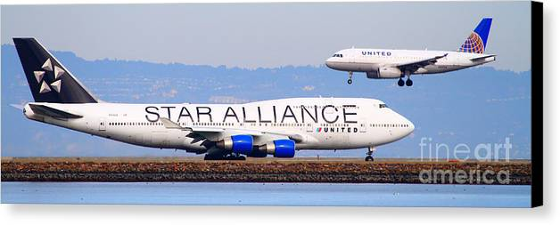 Pano Canvas Print featuring the photograph Star Alliance Airlines And United Airlines Jet Airplanes At San Francisco Airport Sfo . Long Cut by Wingsdomain Art and Photography