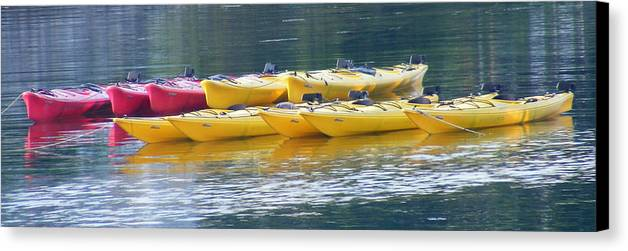 Kayak Canvas Print featuring the photograph Waiting Kayaks by Carol Bruno