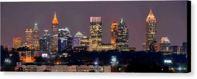Atlanta Skyline At Night Downtown Midtown Color Panorama