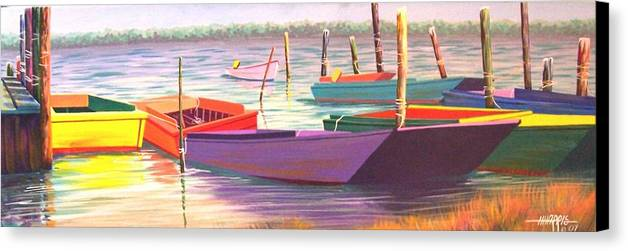 Boats Canvas Print featuring the painting Bateau Mystique by Hugh Harris