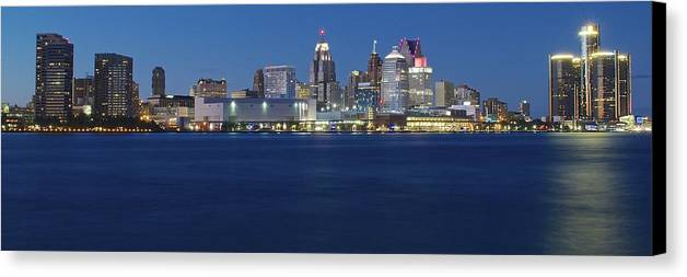 Detroit Canvas Print featuring the photograph Blue Hour In Detroit by Frozen in Time Fine Art Photography