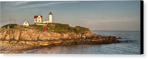 Cape Neddick Canvas Print featuring the photograph Cape Neddick Lighthouse Island In Evening Light - Panorama by At Lands End Photography
