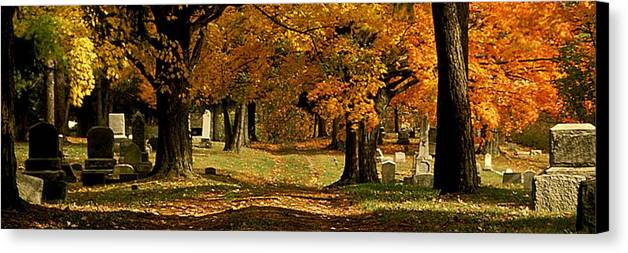 Fall Canvas Print featuring the photograph Cemetary Road In Autumn by Roger Soule