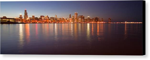 Chicago Canvas Print featuring the photograph Chicago Dusk Skyline Panoramic by Sven Brogren