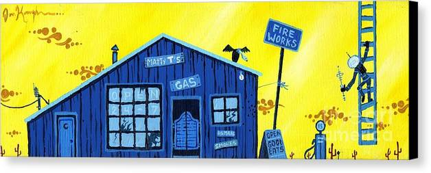 Gas Station Canvas Print featuring the painting Did You See That by Dan Keough