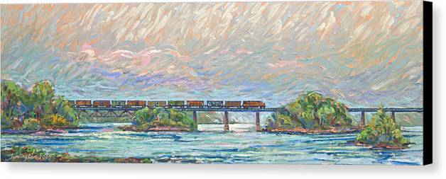Train Canvas Print featuring the painting Fairfield Trestle by Gary Symington