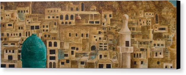 City Canvas Print featuring the painting Maaloula Syria by Julia Collard