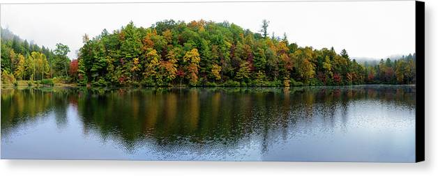 Appalachian Trail Canvas Print featuring the photograph Misty Day On Lake Winfield Scott by Steve Samples