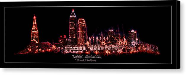 Cleveland Canvas Print featuring the photograph Nightlife by Kenneth Krolikowski