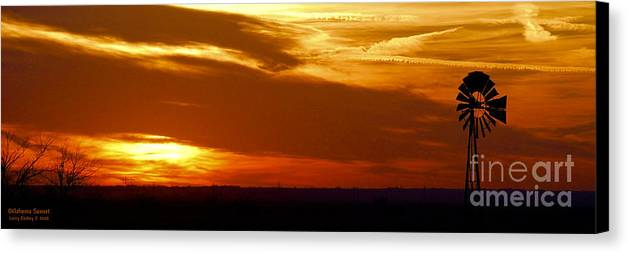 Landscape Canvas Print featuring the photograph Oklahoma Sunset by Larry Keahey