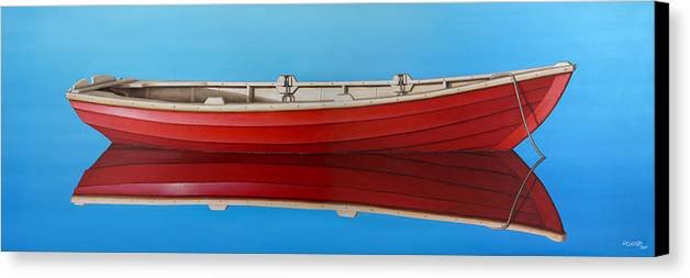 Red Canvas Print featuring the painting Red Boat by Horacio Cardozo