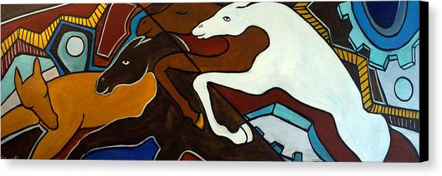 Horse Abstract Canvas Print featuring the painting Taffy Horses by Valerie Vescovi