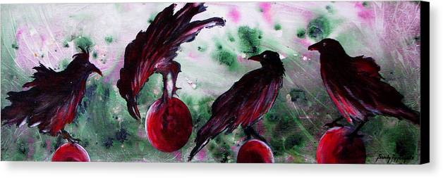 Raven Canvas Print featuring the painting The Raven Still Beguiling by Sandy Applegate