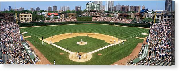 Photography Canvas Print featuring the photograph Usa, Illinois, Chicago, Cubs, Baseball by Panoramic Images
