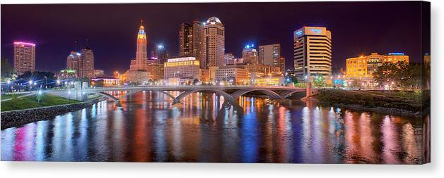 Columbus Skyline Canvas Print featuring the photograph Columbus Skyline At Night Color Panorama Ohio by Jon Holiday