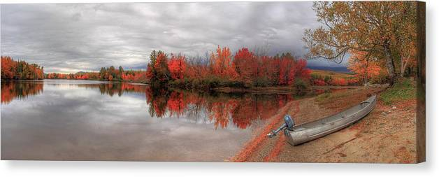 Maine Canvas Print featuring the photograph Maine Lake And Boat by Jack Nevitt