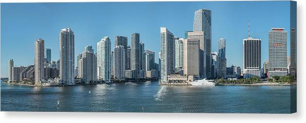 Photography Canvas Print featuring the photograph Miami Skyline, Miami-dade County by Panoramic Images