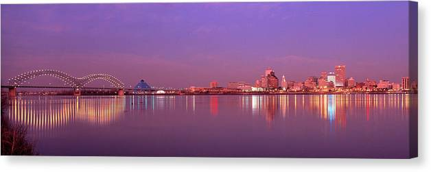 Photography Canvas Print featuring the photograph Night Memphis Tn by Panoramic Images