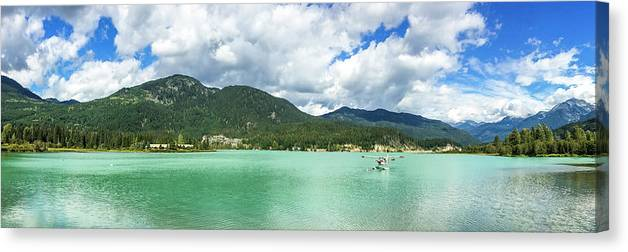 Nobody Canvas Print featuring the photograph Panorama Of Green Lake, Whistler by Ben Girardi