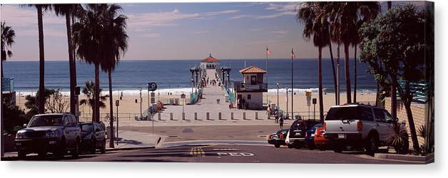 Photography Canvas Print featuring the photograph Pier Over An Ocean, Manhattan Beach by Panoramic Images