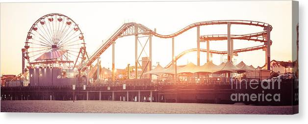 America Canvas Print featuring the photograph Santa Monica Pier Roller Coaster Panorama Photo by Paul Velgos