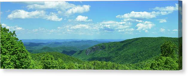Photography Canvas Print featuring the photograph Scenic View Of Mountain Range, Blue by Panoramic Images