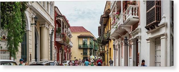 Photography Canvas Print featuring the photograph Street Scene In Old Town, Cartagena by Panoramic Images