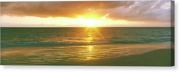 Photography Canvas Print featuring the photograph Sunrise Over The Pacific Ocean, Cabo by Panoramic Images