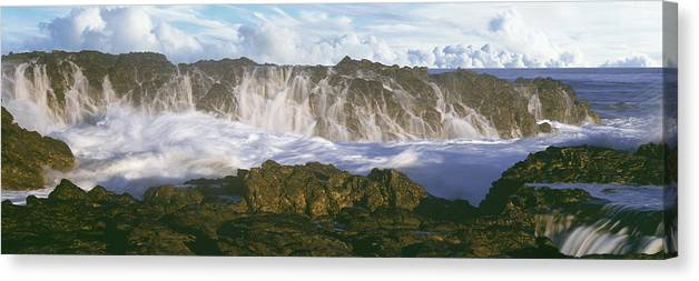 Photography Canvas Print featuring the photograph Surf Crashing Over Seastack At Playa by Panoramic Images