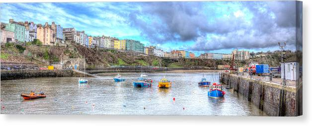Boat Canvas Print featuring the photograph Tenby Harbour Wales by Michael Charles
