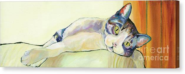 Pat Saunders-white Canvas Prints Canvas Print featuring the painting The Sunbather by Pat Saunders-White
