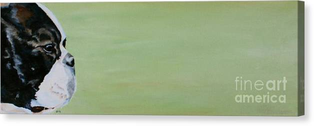 Boston Terrier Canvas Print featuring the painting Green Space by Susan Herber