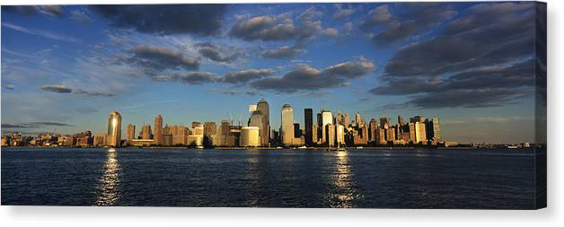 Built Structure Canvas Print featuring the photograph Lower Manhattan At Sunset, Viewed From by Axiom Photographic