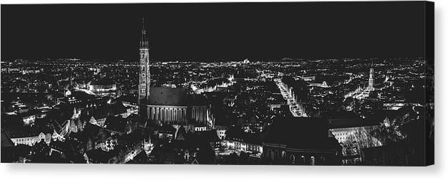 Landshut Canvas Print featuring the photograph Evening Panorama - Landshut Germany by Pixabay