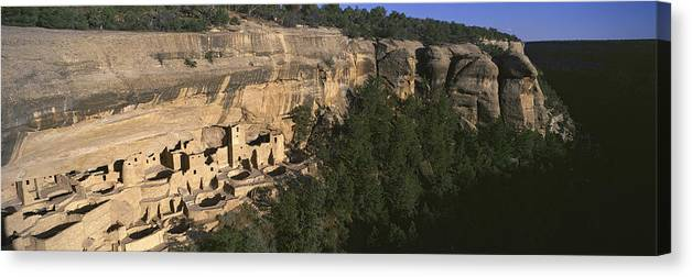 Photography Canvas Print featuring the photograph Panoramic View Of Cliff Palace Cliff by Panoramic Images