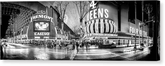 Las Vegas Canvas Print featuring the photograph Fremont Street Experience Bw by Az Jackson